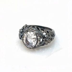 Cherryl's Jewelry - Darkened Silver Ring w Crystal Stone